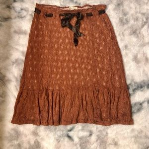 Free People rust knit mid calf skirt size large